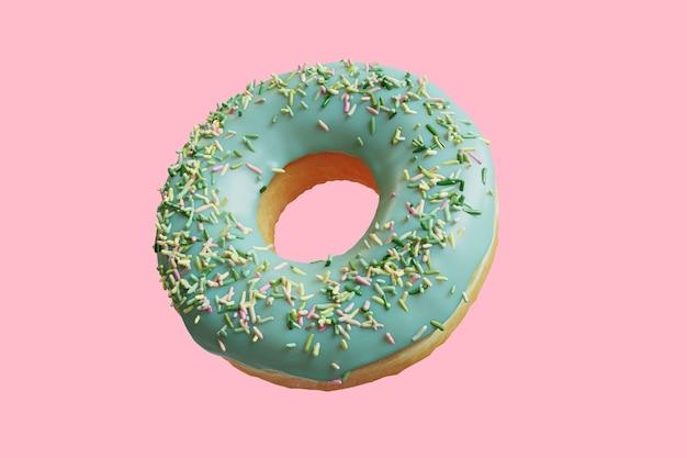 Gros plan donut garniture avec du thé vert blanc sprinkles isolé sur fond. rendu 3d.