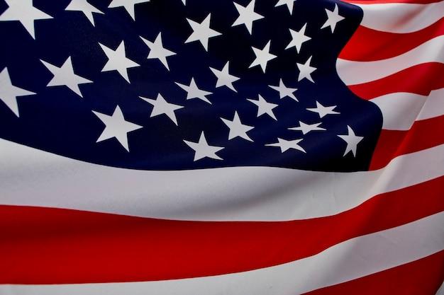 Gros plan, drapeau américain, vague