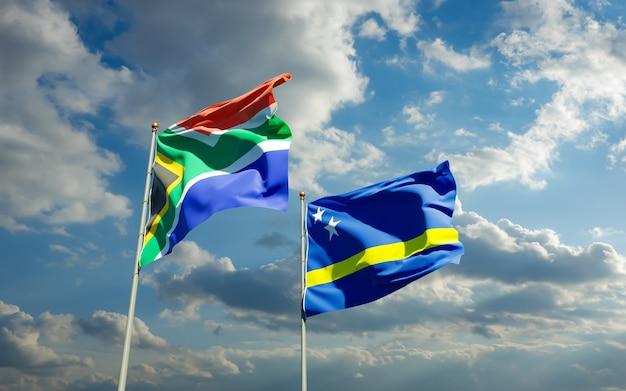 Gros plan sur les drapeaux de l'afrique sar et curaçao