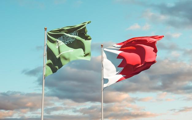 Gros plan sur les drapeaux de l'arabie saoudite et de bahreïn