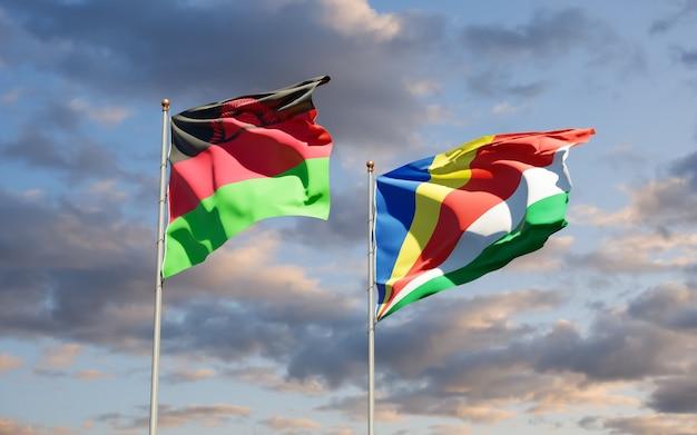 Gros plan sur les drapeaux du malawi et des seychelles
