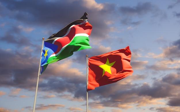Gros plan sur les drapeaux du soudan du sud et de la turquie