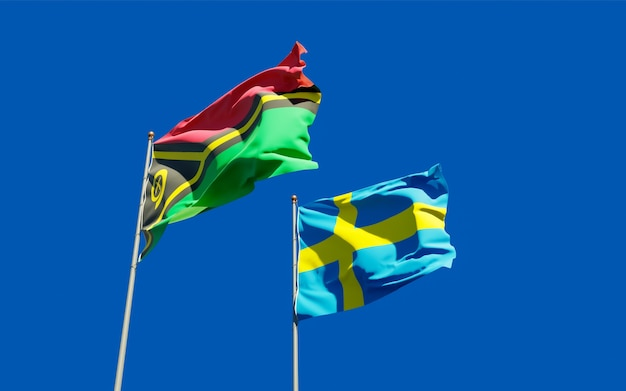 Gros plan sur les drapeaux du vanuatu et de la suède