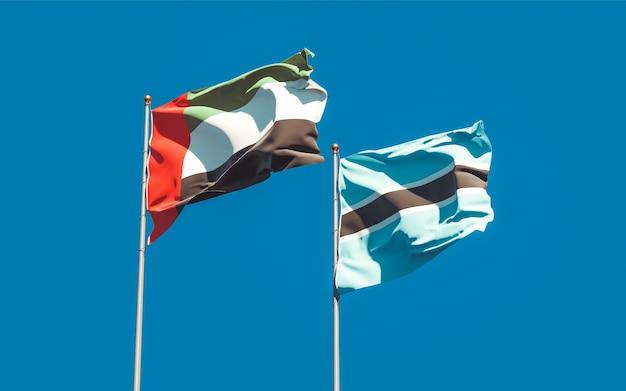 Gros plan sur les drapeaux des émirats arabes unis et du botswana