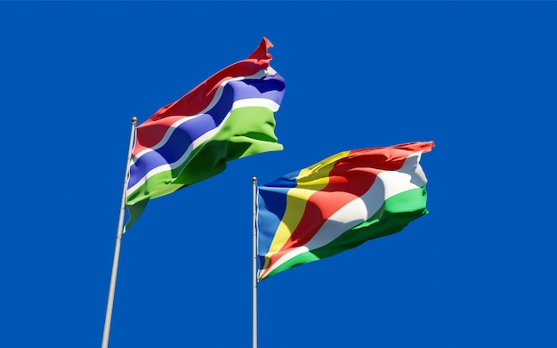 Gros plan sur les drapeaux de la gambie et des seychelles