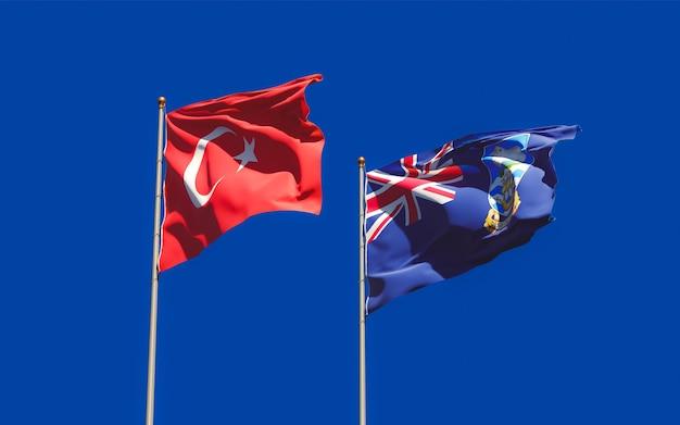 Gros plan sur les drapeaux des îles falkland et de la turquie