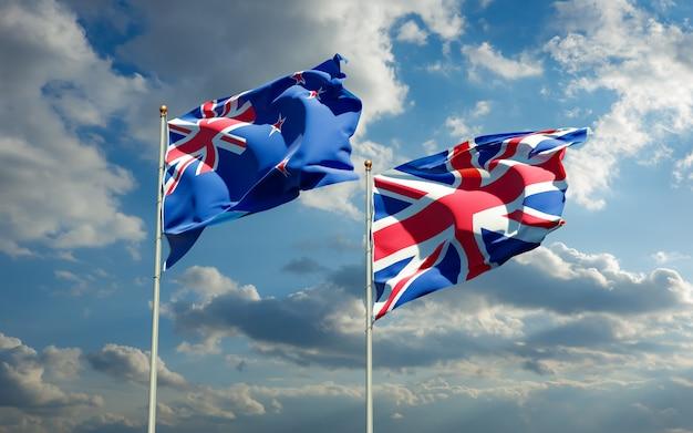Gros plan sur les drapeaux de la nouvelle-zélande et du royaume-uni britannique