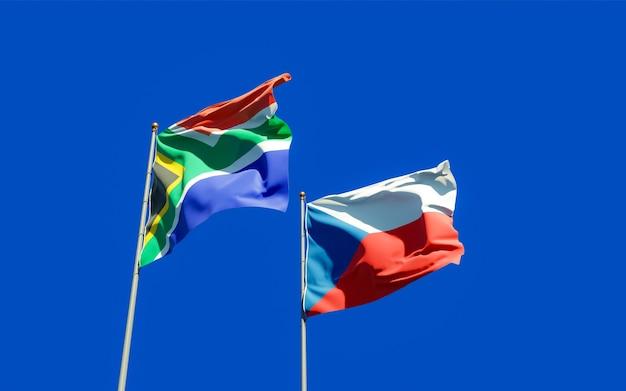 Gros plan sur les drapeaux de la sar africaine et tchèque