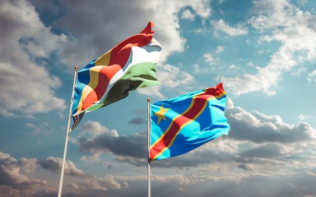 Gros plan sur les drapeaux des seychelles et de la rd congo