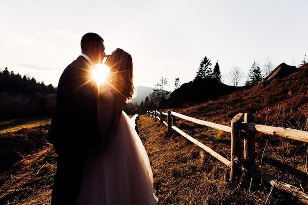 Gros plan du baiser de la mariée des rayons du soleil des jeunes mariés avec une belle coiffure et une robe avec de la dentelle