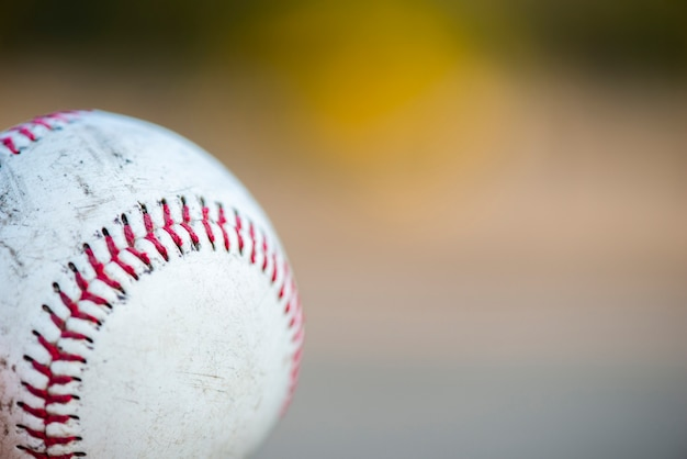 Gros plan du baseball avec espace de copie