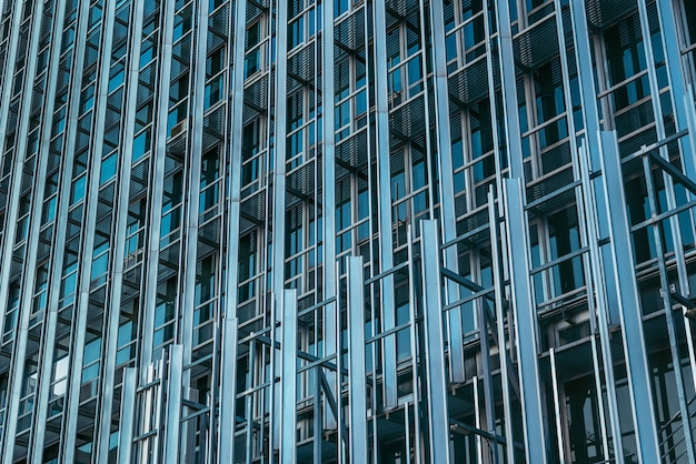 Gros plan du bâtiment de la tour de verre