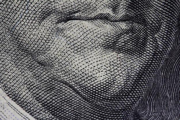 Gros plan du billet d'un dollar américain