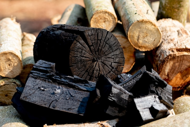 Gros plan du charbon de bois avec des bûches de bois sur la transformation du bois