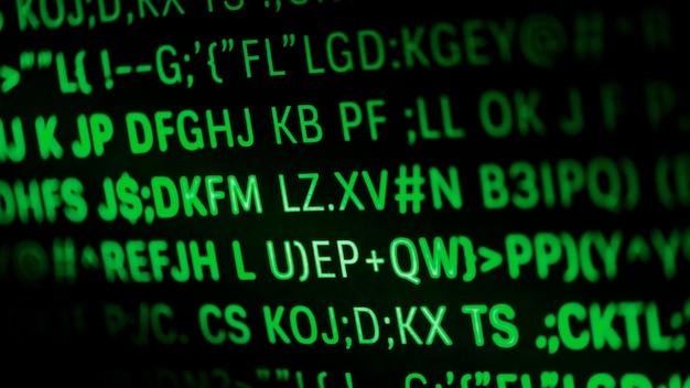 Gros plan du code de programmation et de la langue