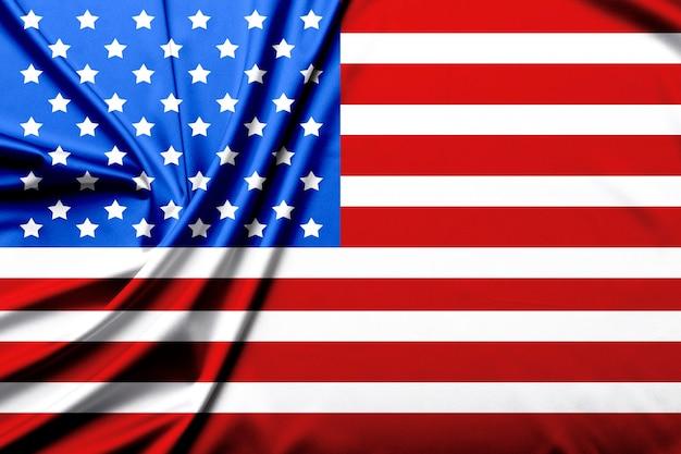 Gros plan du drapeau américain ridée