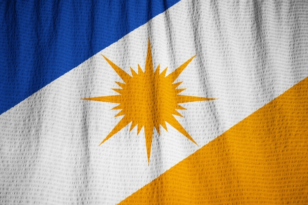 Gros plan du drapeau bandeira do tocantins ébouriffé, drapeau de bandeira do tocantins soufflant dans le vent