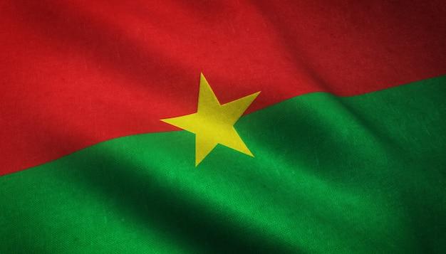Gros plan du drapeau du burkina faso avec des textures grungy