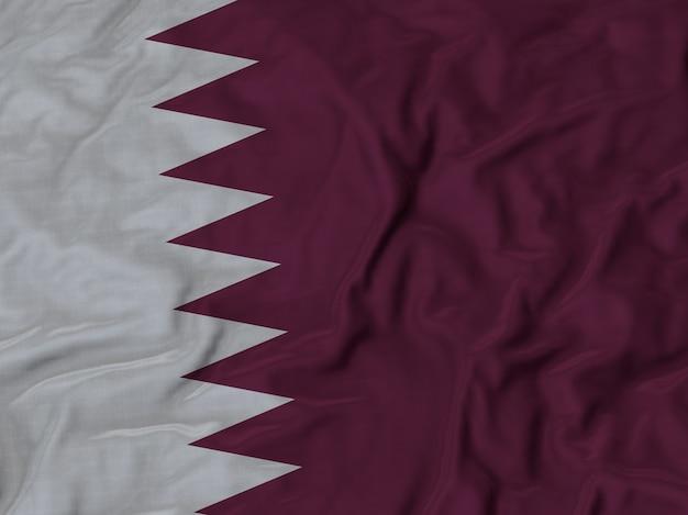 Gros plan du drapeau du qatar ébouriffé
