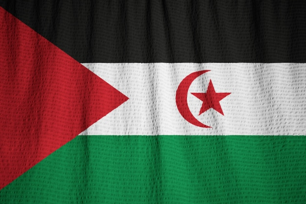 Gros plan du drapeau du sahara occidental ébouriffé, drapeau du sahara occidental soufflant dans le vent