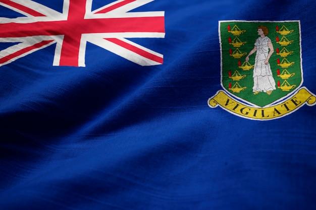 Gros plan du drapeau ébouriffé des îles vierges britanniques