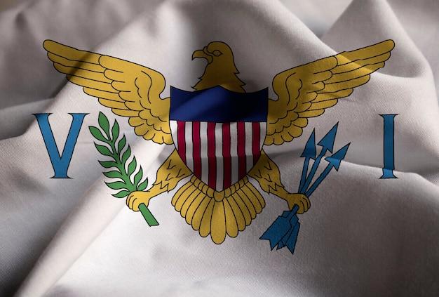 Gros plan du drapeau des îles vierges des états-unis ébouriffé