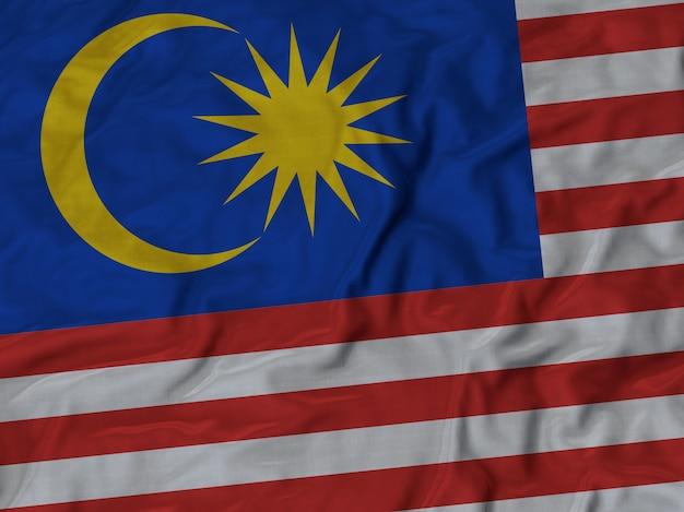 Gros plan du drapeau de la malaisie ébouriffé