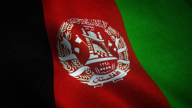 Gros plan du drapeau ondulant de l'afghanistan avec des textures intéressantes