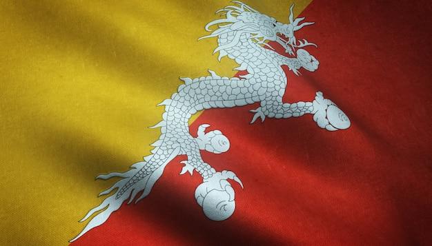 Gros plan du drapeau ondulant du bhoutan avec des textures intéressantes