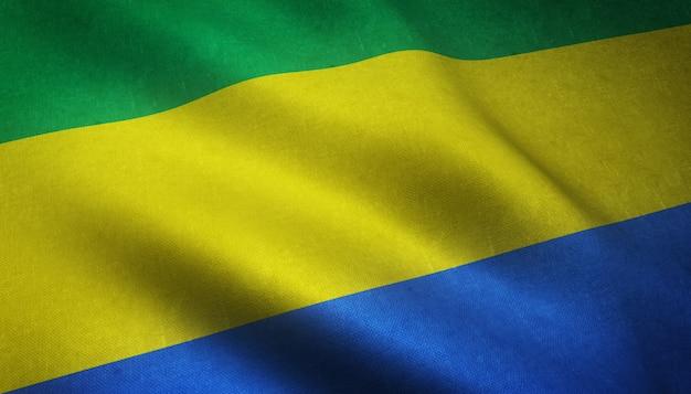 Gros plan du drapeau ondulant du gabon