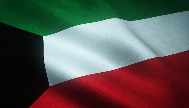 Gros plan du drapeau ondulant du koweït avec des textures intéressantes