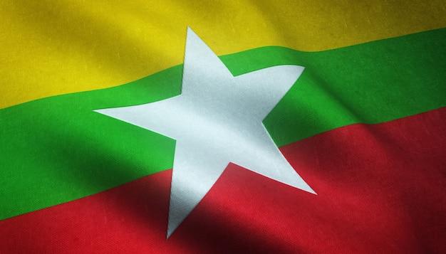 Gros plan du drapeau ondulant du myanmar avec des textures intéressantes