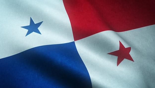 Gros plan du drapeau ondulant du panama avec des textures grungy