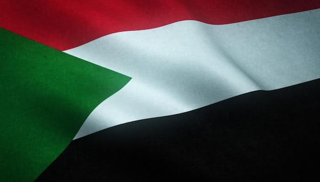 Gros plan du drapeau ondulant du soudan avec des textures intéressantes