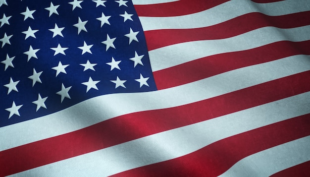 Gros plan du drapeau ondulant des états-unis d'amérique avec des textures intéressantes