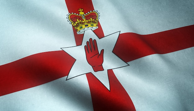 Gros plan du drapeau ondulant de l'irlande du nord avec des textures intéressantes