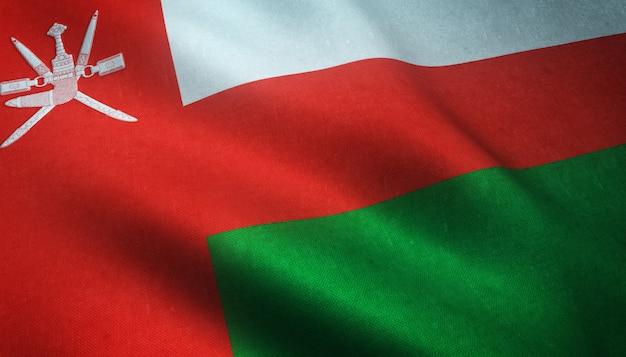 Gros plan du drapeau ondulant d'oman avec des textures intéressantes