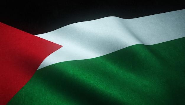 Gros plan du drapeau ondulant de la palestine