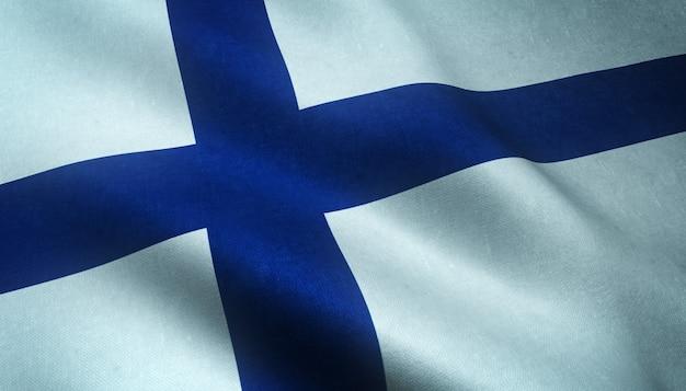 Gros plan du drapeau ondulant réaliste de la finlande