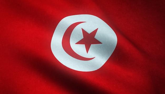 Gros plan du drapeau ondulant de la tunisie avec des textures grungy