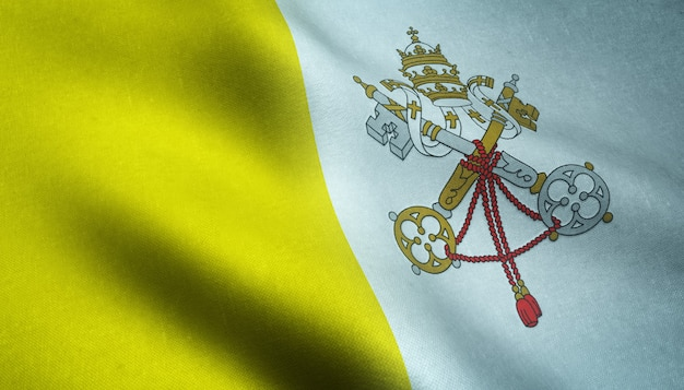 Gros plan du drapeau réaliste de la cité du vatican