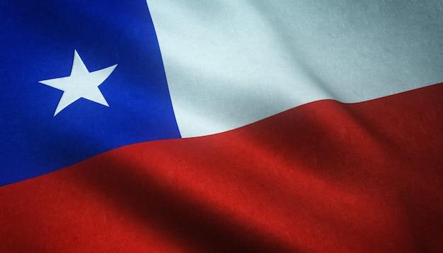 Gros plan du drapeau réaliste du chili avec des textures intéressantes