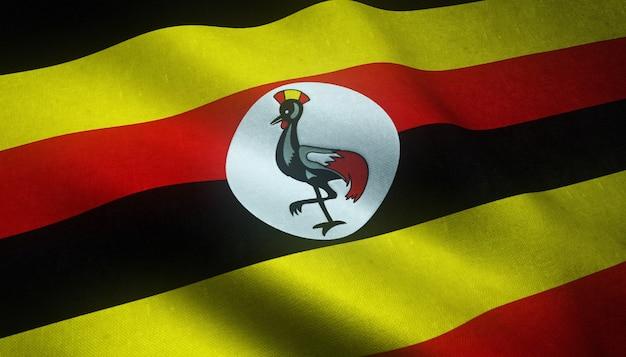 Gros plan du drapeau réaliste de l'ouganda avec des textures intéressantes