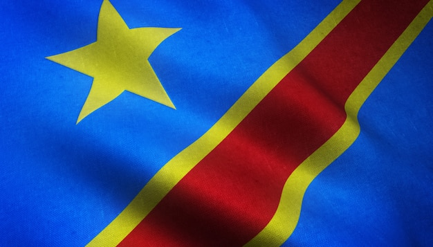 Gros plan du drapeau réaliste de la république démocratique du congo avec des textures intéressantes