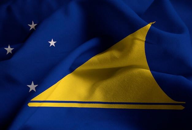Gros plan du drapeau de tokelau ébouriffé, drapeau de tokelau soufflant dans le vent