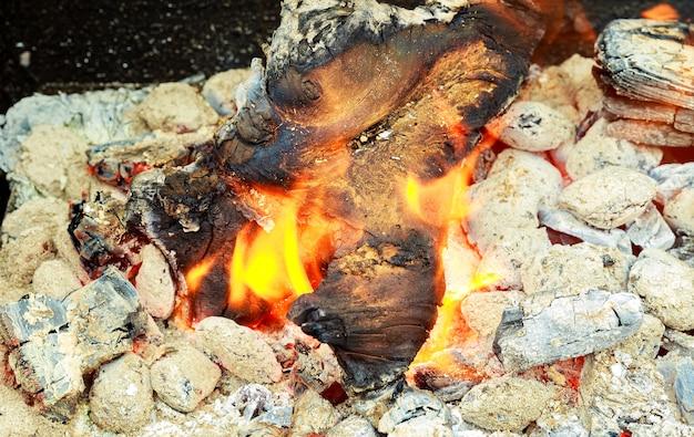 Gros plan du feu de tas de bois brûlant avec des flammes