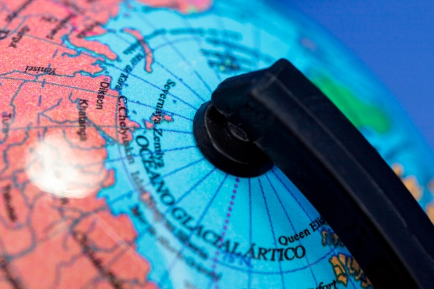 Gros plan du globe terrestre