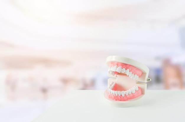 Gros plan du modèle de dents blanches avec gomme rouge et miroir dentaire sur arrière-plan flou