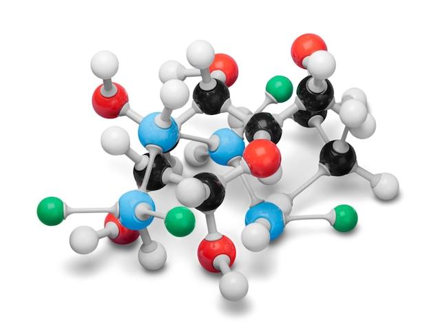 Gros plan du modèle de structure moléculaire sur fond
