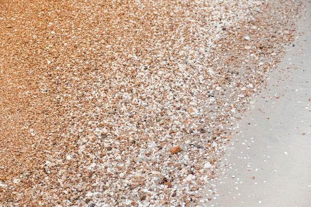 Gros plan du motif de sable de texture d'un fond de plage